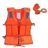 Rettungsjacken Erwachsene mit Pfeife und 30m Safety Seil (8mm innerer Kern), professionelle Sicherheitsschwimmwesten Auftriebsweste Hilfsmittel Wassersportlebenjacken für Bootfahren, Schnorcheln, Kaja