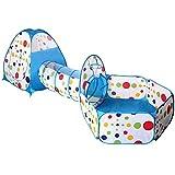 Atrumly Kinder-Spielzelt, 3-in-1-Zelt, Spielhaus, Krabbeltunnel, Bällebad, drinnen und draußen, Spielplatz mit Reißverschluss, Aufbewahrungstasche für Jungen, Mädchen, Babys, Kleinkinder, Kinderzelt