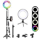 20,3 cm Selfie-Ringlicht, Zomei Desktop-RGB, LED-Ringlicht mit 2 Stativen und Handy-Halterung für Make-up, YouTube, Video, Fotografie