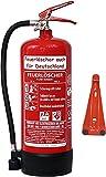 6 L Schaum Feuerlöscher Brandklasse AB DIN EN 3 + GS, Manometer, Wandhalter, Messingarmatur Sicherheitsventil, Standfuß, Schaumlöscher (Ohne Prüfnachweis u. Jahresmarke)