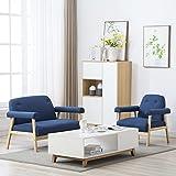Sofa 1 Sitzer + 2 Sitzer Sessel mit Kissen, Holzrahmen Gepolsterter Textilstoff Blau