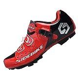 SIDEBIKE Radfahren Schuhe für Erwachsene, Atmungsaktiv Windabweisend Mountainbikeschuhe, Fahrradschuhe mit Dämpfung Einlegesohle (41, Rot)