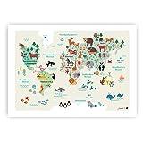 byGraziela Weltkarte Poster für Kinder | Lernposter Deutsch | Größe 50 x 70cm