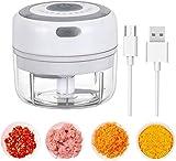 LUOWAN Elektrisch Zerkleinerer Küche,100ML Mini Knoblauchhacker Gemüsezerkleinerer Elektrisch Zwiebelschneider mit 2 Scharfen Klingen für Knoblauch Gemüse Obst Fleisch Multizerk