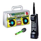 Amosfun 3 Stücke Aufblasbare Ghettoblaster Musikinstrumente Set Retro Handy Mikrofon Spielzeug für Kinder Erwachsene Rapper 90er 80er Jahre Hip Hop Kostüm Geburtstag Silvester Party Deko