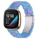 Miimall Kompatibel mit Fitbit Versa 3/Sense Armband, Hochwertiges Leicht Resin Harz Ersatzarmband mit Doppelte Faltschließe aus Edelstahl Uhrenarmband für Fitbit Versa 3/Sense-B