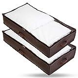 Bruce. ® 2 x Premium Unterbettkommoden I 90 Liter - 100 x 50 x 18 cm I Atmungsaktiv und Mottenfrei I Platzsparende Unterbett Aufbewahrungstasche für Bettdecken, Bettwäsche und Kissen