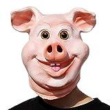 PartyCostume - Glückliches Schwein Maske - Halloween Party Lustig, Süß Latex Tierkopf Maske