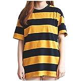Damen Mädchen T-Shirt Gestreiftes Pullover Kurzarm Oberteile T Shirt Tops Freizeit Koreanische Version Kleidung, Gelb, Medium