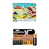 Play-Doh B5520EU50 B5520EU4 - Dr. Wackelzahn Knete, für fantasievolles und kreatives Spielen + Duracell Plus AA Alkaline-Batterien, 12er Pack