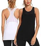 Wayleb Damen Tank Top Sporttop Yoga Fitness Shirt Baumwoll mit Mesh-Patchwork Oberteil Tanktop Basic Ärmello Tops für Training Laufen Jogging Gym Running 1er/2er Pack
