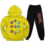 Yu-Gi-Oh Kinder Trainingsanzug Kapuzen-Sweatshirts Outfit 2 Stück Hoodies Top und Sweatpants Anzug für Jugendliche Jungen Mädchen Gr. M, gelb / schwarz