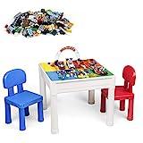 LADUO Tisch Stuhlsets Kinder, 200pcs Mini Bausteine Ziegelspielzeug, 5-in-1-Children's Spieltisch/Lerntisch, Enthält 2 Stühle und Bausteintische