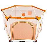 MKJYDM Kinderspielzaun Babysicherheitszaun Klappinnenhöhe 82,5 cm Spielzaun für Kinder (Color : Orange)