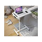 ABD Beistelltisch mit Rädern, höhenverstellbar, mobiler Laptop-Ständer, Schreibtisch, Rollwagen, höhenverstellbar (Farbe: Weiß2)