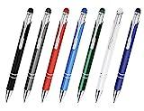 Creativgravur® Aluminium - Kugelschreiber Cosmo mit Touchpen Funktion Lasergravur Sortenrein o. Gemischt einheitl. Gravur 8 Farben, Menge:100 Stück