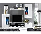 GXK Anbauwand Wohnwand Wohnzimmerschrank Schrankwand Weiss mit LED ca. 230 cm breit