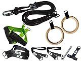 BodyCROSS Premium Schlingentrainer mit Turnringen und zusätzlichen Griffen | Made in Germany | Ideal für Calisthenics und Turnübungen | Übungsposter, Türanker, Befestigungsschlaufe (Limette)