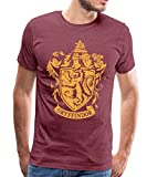 Harry Potter Gryffindor Wappen Logo Männer Premium T-Shirt, M, Bordeauxrot meliert