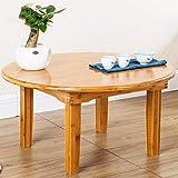 Kleiner tischgrill elektrisch Kleiner Bambustisch mit einem Durchmesser von 80 cm, einfacher niedriger Tisch for den Haushalt, Esstisch in Holzfarbe, klappbarer kleiner Tisch, runder Reistisch kleiner