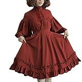 LOPILY Kleider Damen Vintage Lolita Kostüme Kleid Damen mit Trompetenärmel 46 44 42 Rüschen Prinzessin Midikleid mit Knopfen Halloween Kostüme Damen Karneval Faschingskostüm Mädchen (Weinrot, 44)