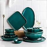 WECDS Teller Schüssel Keramik Geschirr-Sets, Keramik Geschirr Schüssel Schüssel Teller Löffel für Küche und Esszimmer, 28 Stück