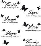 MONSIVILIA 2 Stück Wandtattoo Spruch Schmetterlinge Butterfly Wandaufkleber Schwarz Selbstklebend Wandsticker Familienaufkleber Wandtattoo Familie Wand Aufkleber für Wände und Möb