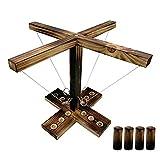 4 Personen Interaktives Spielen Game, Toss Haken und Ring Spiel, Ringwurfspiel aus Holz, Party-Wurfspiele, Party Spiel für Family Fun, Party-Wurfspiele