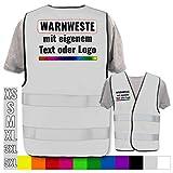 Hochwertige Warnweste direkt selber gestalten * eigener Aufdruck mit Text Logos Grafiken Designs, Position & Druckart:Rücken + Front/Premium-Druck, Farbe & Größe:Grau/Größe 5XL