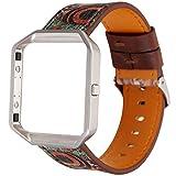 LUONE Ersatz-Armband, kompatibel mit Fitbit Blaze Uhrenarmband-Weinlese-Druck-UhrWristband Quick Release Sport Uhrenarmbänder,Grün