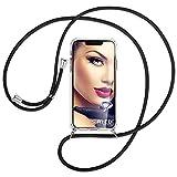 mtb more energy® Handykette kompatibel mit Motorola Moto G10, Moto G30 (6.5'') - schwarz - Smartphone Hülle zum Umhängen - Anti Shock Full TPU Case
