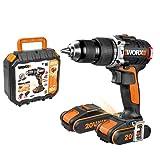 WORX WX373 Akku Schlagbohrschrauber Set – Bürstenloser Akkuschrauber 20V, 2 Li-Ion Akkus, Koffer & Schnell-Ladegerät – 60Nm, 2-Gang-Getriebe & LED-Licht - zum Schrauben, Bohren & Schlagbohren