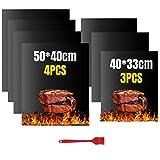 VLVEE BBQ Grillmatte - Extra Dick 100% Antihaft Wiederverwendbar Grillmatten Backmatten Grill Mat für Holzkohle, Gasgrill & Backofen(4er Set 50x40 cm und 3er Set 40x33 cm)