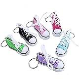 Sneaker Schuh Schlüsselbund, Mini Canvas Fingerschuhe ohne Schlüsselanhänger, Fahrrad Motorrad Seitenständer Stützpolster, Vermeidung von Kratzern auf dem Boden (6 PCS)