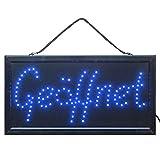 LED Schild Geöffnet Offen blau Leuchtreklame Ladenschild Innen Werbung Leuchtschild Leuchttafel Werbeschild Leuchtreklame Schild Neon mit Kette