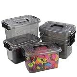 Ucake Kleine Erste-Hilfe-Aufbewahrungsbox Plastikkisten mit Griffen und Deckeln, Transparent Grau und Schwarz, 6 Packungen