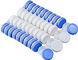 FEIGO 20 Stück Kontaktlinsenbehälter Linsenbehälter Set 5,8 x 2,8 x 1,4 cm Aufbewahrungsbox Kontaktlinsendose für Zuhause und Reisen Weiche Linse (Weiß Blau)