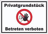 Privatgrundstück Betreten verboten Aufkleber mit Symbol kein Zutritt A7 (74x105mm)
