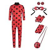 Yigoo Ladybug Mädchen Marienkäfer Kostüm Kinder Halloween Karneval Overall Party Cosplay 5er Set - Jumpsuit, Augenmaske, Tasche, Ohrclips Ohrklemmen M