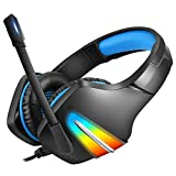 tellaLuna J6 Gaming Headset mit Mikrofon- und GerrUsch UnterdrüCkung KopfhhRer Gaming mit LED Licht für Telefon, Laptop, PS4, PS5, PC, Blau