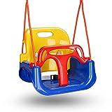 VINGO Kinderschaukel 3 in 1 Babyschaukel Outdoor abnehmbare Freien Schaukelsitz Kinder mit Rückenlehne und Anschnallgurt, Einstellbare Höhe, für Garten, Kinderzimmer, Spielzeugraum