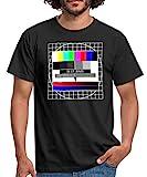 Analoges Fernsehtestbild TV Testbild Männer T-Shirt, L, Schw