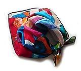 Schal, satin aus 100% Seide, 52 x 52 cm, pink, violett, orange, grün, schwarz, etc.