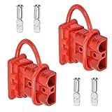 QLOUNI Batterieanschluss 50A Stecker, 50A 600V Anhängerkupplung für Seilwinde, Batterie Akku Steckverbinder Schnellanschluss Stecker mit Staubschutzkappen für Wohnmobil Auto-Rot