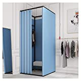 XXIOJUN Bodenständige Mobile Umkleidekabine, Mobiles Ösenvorhang-Kit Privacy Partition Tent Screen Schmiedeeisenrahmen Für Damenbekleidungsgeschäft (Color : Blue, Size : 100x85x200cm)