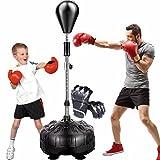 YZBBSH Punchingball Erwachsene Kinder Boxsack Stehend Höhenverstellbar 120cm 130cm 140cm 150cm 160cm Reflex Sandsack für MMA-Training Fitness und Stressabbau mit Boxhandschuhe