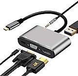 DIWUER USB C zu HDMI VGA Adapter, 5 in 1 Hub Type-C zu 4KHDMI, 1080PVGA, USB3.0, 87W PD, Audio, Multiport Konverter für Thunderbolt 3 MacBook/MacBook Pro/Samsung Galaxy/Huawei P30/20/Mate 20