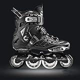 Inline-Skates Erwachsene Einreihige Rollerblades Eisschnelllaufschuhe Kohlefaser Anfängersport im Freien Fitness für Männer und Frauen Rollschuhe 【Schwarz】