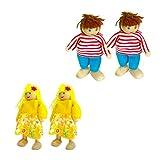 TOYANDONA 4 Stücke Familie Puppen Set Holz Puppenfamilie Holzpuppen Holzfiguren Figurenkegel Biegepuppen mit 6 Personen für Puppenhaus Set