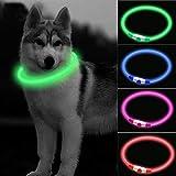 CCWW LED Leuchthalsband für Hunde USB Aufladbar LED Hundehalsband Stück hundehalsband Leuchtend Wiederaufladbares und Längenverstellbareres mit DREI Beleuchtungsmodi für Hunde und Katzen